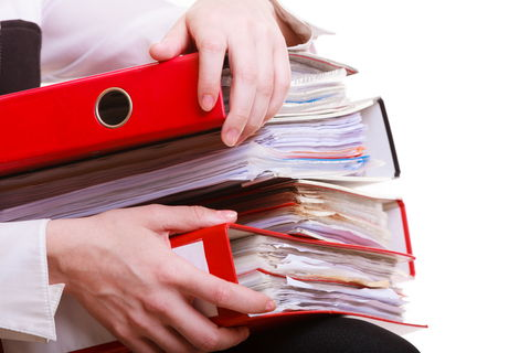 A stack of employment records