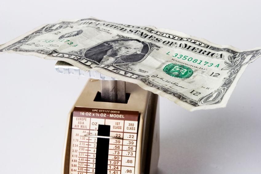 Dollar on a scale