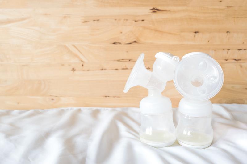 Bottles of pumped milk