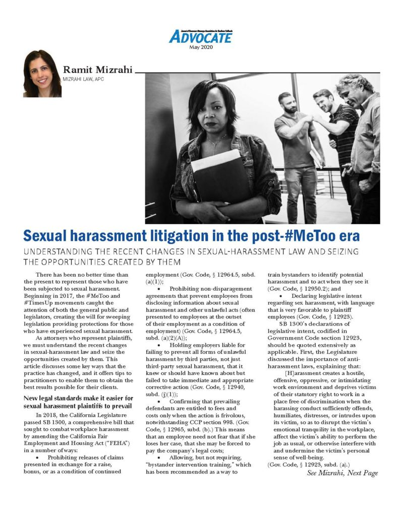 Image of first page of Mizrahi article on sexual harassment litigation in the post-#MeToo era