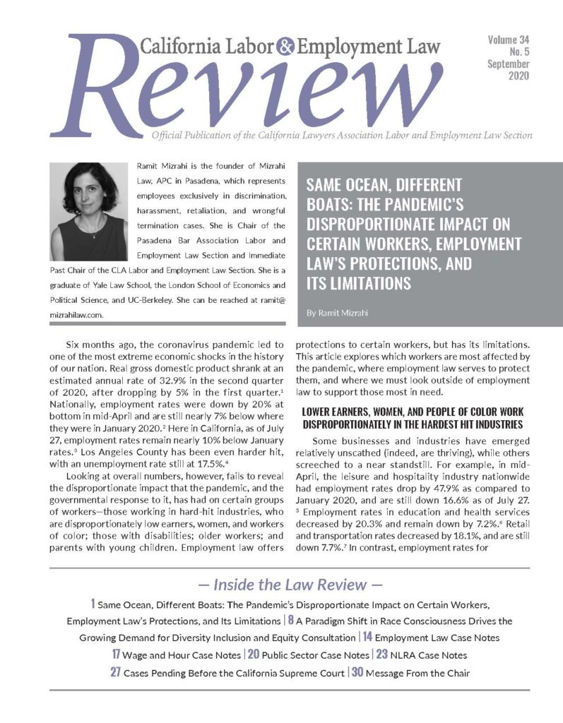 Cover of September 2020 Labor & Employment Law Review Issue