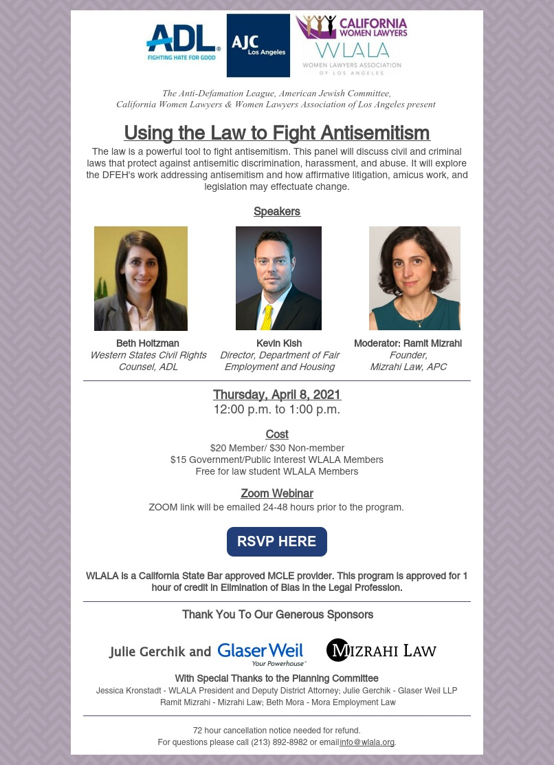 Using the Law to Fight Antisemitism flyer